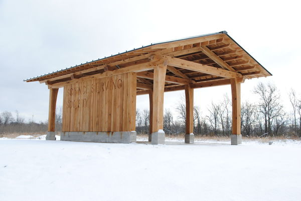 Morrison Family Education and Outreach Pavilion at ND-LEEF covered in snow