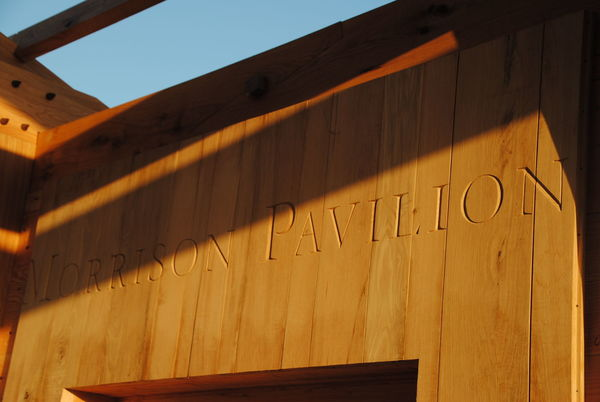 Morrison Family Education and Outreach Pavilion detail photo with sun on the family name