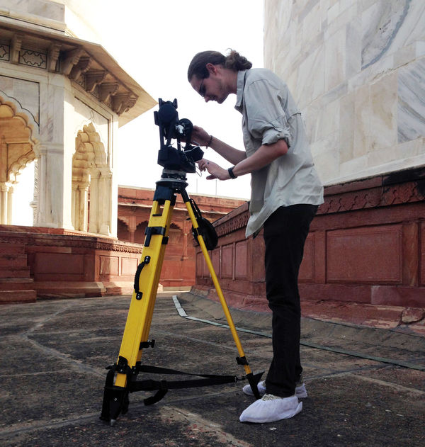 James Sweet operating GigaPan robotic tripod on the roof of Taj Mahal