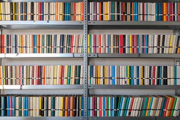 Shelf Of Books Located At Berlin Based Publisher Suhrkamp Verlag